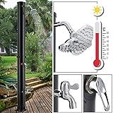 Juskys Solardusche Victoria 20 l – Garten-Dusche mit Regendusche und Thermostat – schwarz – Gartenschlauch Anbindung – justierbare Duschkopf-Halterung