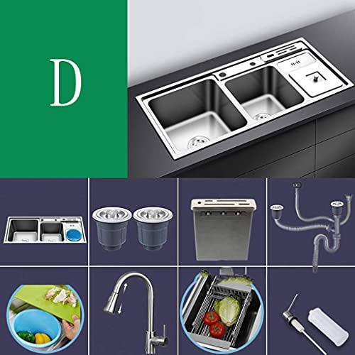 HYDL Organizador Fregadero Cocina, Fregadero de acero inoxidable nano 304, tres tanques con botes de basura, fregadero y fregadero de cocina multifuncional, juego de tanque doble e