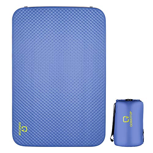 OT QOMOTOP Ultra Thick 4 Inches Self Inflating Mattress- Double/Single Portable 4-Season Camping Pad Sleeping Mat, PU Foam, Level 3 Waterproof, Suitable for 1/2 Person, Travel Bag