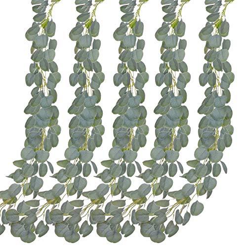 Aibesser Efeu Künstlich, Kunstpflanze Balkon Dekoration Vintage Plastik Pflanze 5 Stück Grün Efeu mit Nylon Kabelbinder Pflanzen Efeuranke für Garten Hochzeit Party Wanddekoration (12 * 2.2M)