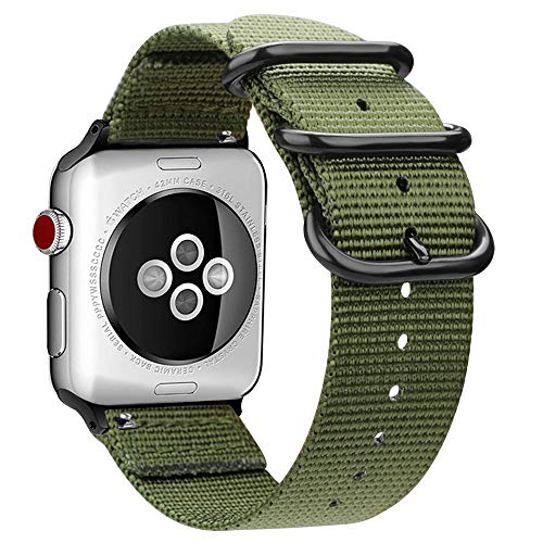 MaKer Nylon Tessuto Cinturini con Fibbia ad Anello Nato Compatibile con Apple Watch Series 4/3/2/1 (44/42mm,Esercito Verde)