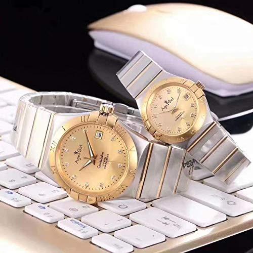 HHBB Marca de lujo hombres y mujeres par reloj completo bisel oro dial automático mecánico acero inoxidable zafiro cristal Aaa+ Mens tamaño