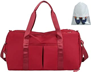 Travel Duffel Bags 36-55L Waterproof Lightweight Luggage Yoga Gym Sport Duffel Bags with Shoes Compartment,Dry Wet Pocket for Men and Women(Red)