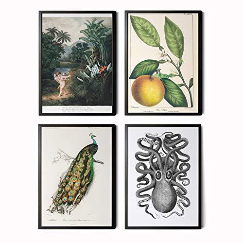 Mapa Mundi Láminas Decorativas para salón, Comedor, habitación, Dormitorio, Pasillo. Set de 4 Posters Modernos DIN A3. Sin Marco. Decoración Vintage