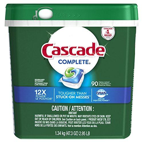 Cascade Complete Dishwasher Pods, Detergent ActionPacs, Fresh Scent, 90 Count