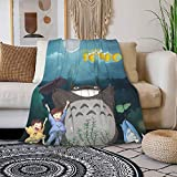 Fluffy Throws Blanket,Japanese Anime My Neighbor Totoro Poster Wrinkle Resistant Mattress Pad,Convenient Comfortable Wool Plush Throws for Carrier All Season Dogs,50' x40
