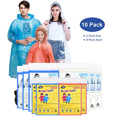 EZshoot Rain Ponchos for Family Pack Disposable(10 Pack) Emergency Raincoat Drawstring Hood Poncho for Children and Adults Thicker Quality Material 100% Waterproof Emergency Rain Ponchos