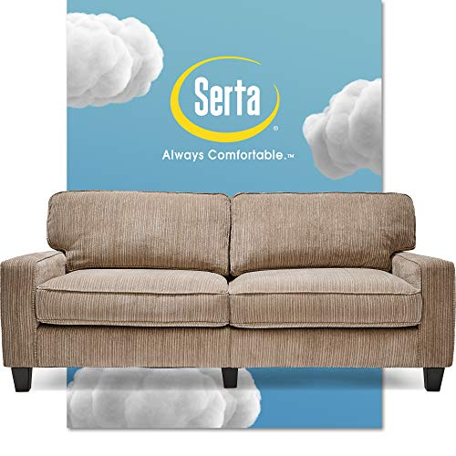 "Serta Palisades Upholstered Sofas for Living Room Modern Design Couch, Straight Arms, Soft Fabric Upholstery, Tool-Free Assembly, 73"", Beige"