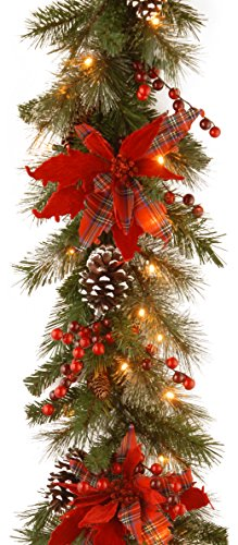 National Tree Company Pre-lit Artificial Christmas Garland Collection Flocked with Mixed Decorations and White LED Lights Tartan Plaid - 9 ft, 9-Foot x 12-Inch, Green