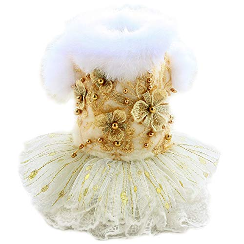 JJZXD Dog Clothes Golden Flowers Wool Coat Dresses Warm Collar Lace Skirt Pet Outfit Poodle Maltese Chihuahua (Size : X-Small)