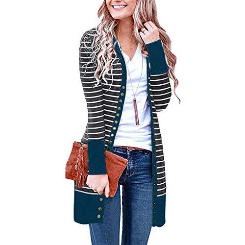 acction Mujer Invierno Cardigan Jersey de Punto Suelto Color