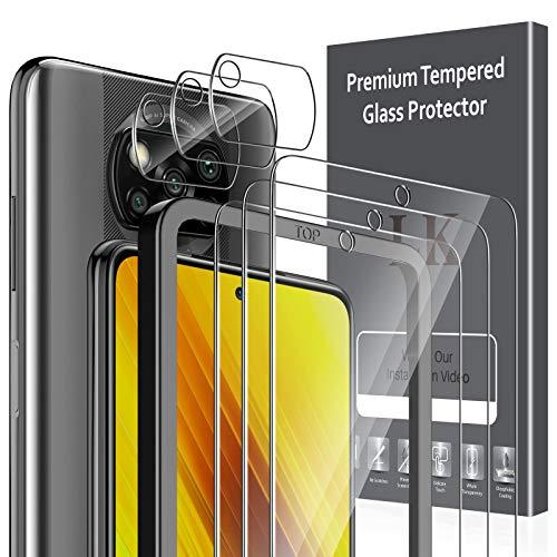 LK 6 Pack Protector de Pantalla Compatible con Xiaomi Poco X3 NFC Poco X3 Pro,Contiene 3 Pack Cristal Vidrio Templado y 3 Pack Protector de Lente de cámara, Doble Protección,Marco de Posicionamiento