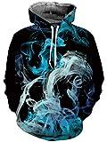 Freshhoodies Hombre Sudadera Impreso en 3D Fumar Animal Sudadera con Capucha Azul Gris Figura Paisaje Cordón Bolsillo Mangas Largas M