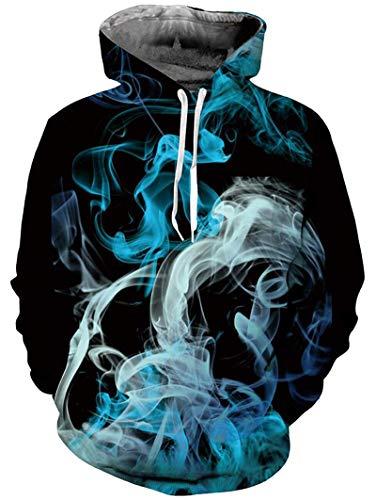 Freshhoodies 3D Kapuzenpullover Herren Damen Printed Casual Langarm Blau Rauch Kapuze Hoodie Pullover Oberbekleidung Sweatshirt L