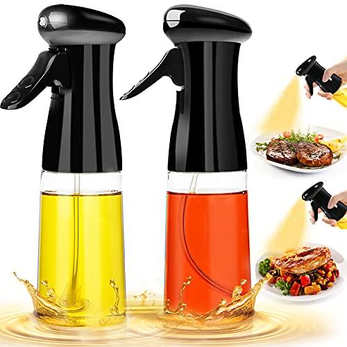 Oil Sprayer for Cooking 2PACK Set Refillable Olive Oils Dispenser Spray Versatile Vinegar Spritzer Bottle Food Grade PET Oil Spray Bottle Plastic for Air Fryer Kitchen BBQ Salad Baking 7Oz/200ML Black