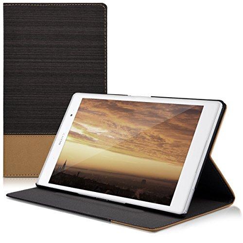 kwmobile Funda Compatible con Sony Xperia Tablet Z3 Compact -Carcasa de Tela para Tablet con Soporte en Antracita/marrón Claro