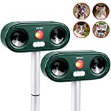 INTEY Cat Repellent Ultrasonic 2PACKS, Outdoor Animal Repeller Deterrent, Adjustable Sensitivity - Different Frequency Bands of Different Animals for Garden, Farm