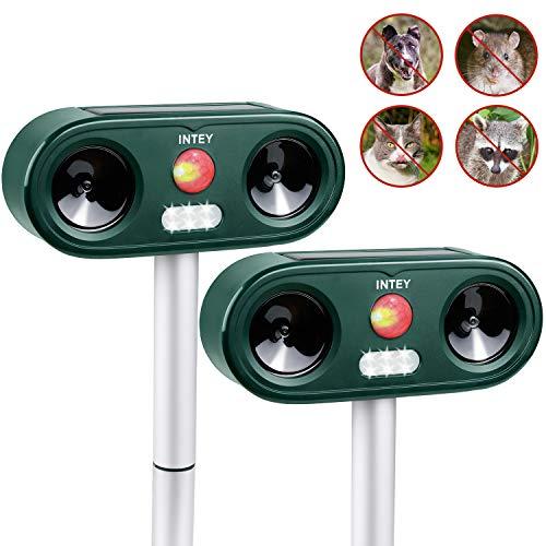 INTEY Repellente Gatti Ultrasuoni Solare e Flash per Gatti, Cani, Cinghiali ECC, Cinque Frequenze e Sensibilità Regolabile, Impermeabile Fino a IP 44, per Esterno, Ricarica Solare e USB (2pcs)