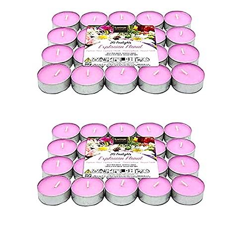 Vela de té perfumada, Velas Tealights aromatica con base de metal - duracion 4.5 horas (Explosión Floral, 40)