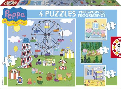 Educa-Borrás 15623 - Peppa Pig puzzles progresivos: 6-9-12-