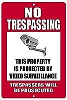 警告侵入セキュリティカメラのビデオ監視なし 金属板ブリキ看板警告サイン注意サイン表示パネル情報サイン金属安全サイン
