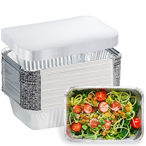 20 Pack Aluminum Pans Disposable Takeout Containers - 8.5'×6'×2' - 2.25 LB Recyclable Tin Foil Pans with Lid - 20 Pans and 20 Lids - Foil Food Containers for Cooking, Baking, Meal Prep,Takeout, Freeze