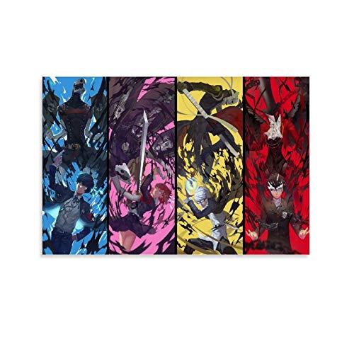Kunstdruck auf Leinwand, Motiv: Persona 3 Persona 4 Persona 5, modernes Design, 30 x 45 cm