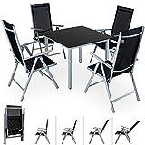 Deuba | Salon de Jardin 4+1 Bern • 1 Table, 4 chaises • Aluminium avec Table en Verre • dossiers Hauts inclinables | Ensemble de Jardin, Gris