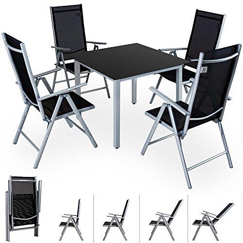 Casaria Conjunto de jardín 4+1 aluminio Bern juego de sillas plegables y mesa 90x90cm set jardín terraza balcón comedor