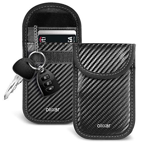 Olixar, custodia per chiavi RFID, in fibra di carbonio, dotata di triplo strato per blocco del segnale, protezione NFC, blocco del segnale chiave auto, con PermaLock