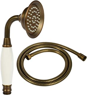 ENGA Vintage Hand-held Shower Rain Sprayer Telephone Shaped Brass Ceramic Shower Head with 59 Inch Hose for Bathroom (Retro Bronze)