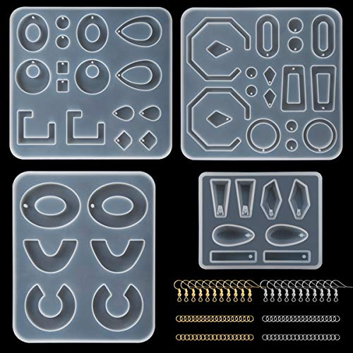 Suhome 4 PCS Earring Epoxy Resin Molds Bohemia Resin Earrings Molds Silicone Resin Jewelry Molds with 100 PCS Earring Hooks and 200 PCS Jump Rings