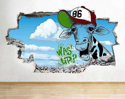 Pegatinas de pared Jirafa animal hat niños pegatinas de pared calcomanías de pared pegatinas de pared habitación de niños 3D Póster Arte 3D Mural 50x70cm