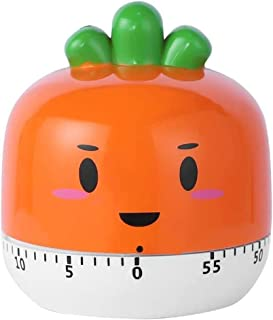 Carrot Timer No Batteries Required 100% Mechanical Cute Kitchen Timer Stainless Steel Precision Life Timer, Suitable for H...