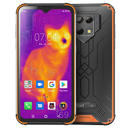 Blackview BV9800 Pro Outdoor Smartphone mit FLIR Wärmebildkamera - 16 cm (6.3 Zoll) FHD Display 48MP-Triple-Kamera, 128GB/6GB Helio P70 Dual-SIM 6580mAh Android 9.0 Handy Ohne Vertrag (Orange)