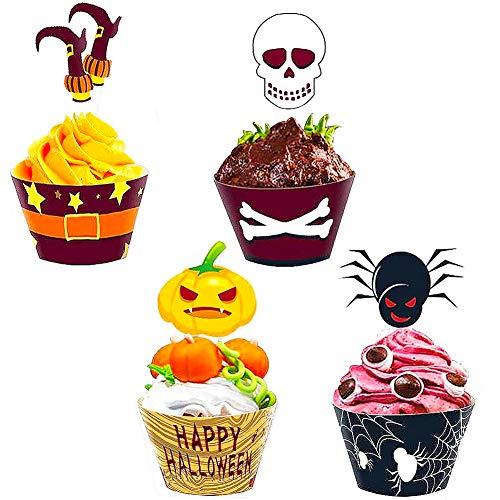 BESTZY Halloween babeczki toppery 48 sztuk Halloween babeczki dekoracje zestaw na Halloween przyjęcie dekoracje artykuły imprezowe