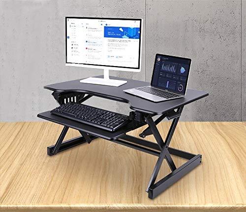 ERGONEER vorkonfektionierter Gesunde Sitz-Steh-Erhebend Computer-Arbeitsplatz | Ergonomie Komfort Tabletop Stehpult Converter | Höhenverstellbare Desktop-Riser mit Squeeze Griffe (Schwarz)