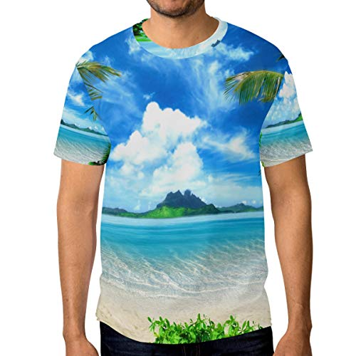 Camisetas para hombre Tropical Sea Coast Playa Palmeras Azul Cielo Blanco Nubes Personalizadas Verano Casual Camisetas