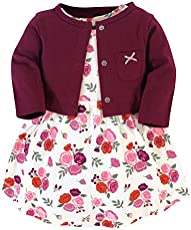 Hudson Baby Girls' Cotton Dress and Cardigan Set, Fall Floral, 0-3 Months