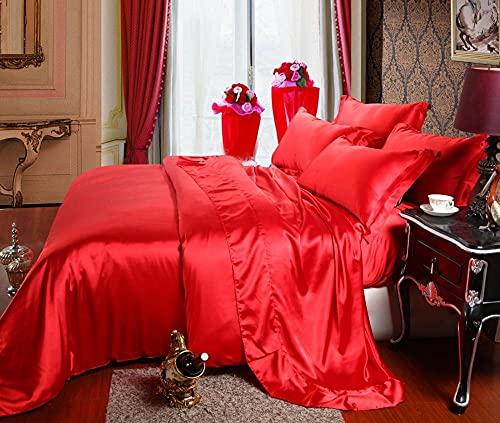 Cubierta de seda de seda de hielo de color sólido de verano, ropa de cama, ropa de cama, arruga, fundido, hoja de bolsillo resistente a las manchas, hoja plana, fundas de almohada-Kk_1,8 m de cama (4