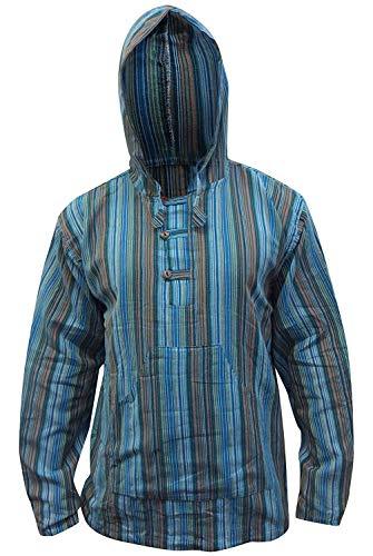 Shopoholic Mode Mehrfarbig Dharke streifen Grandad Kapuzenpulli Hemd,Leicht - TÜRKIS MIX, Large