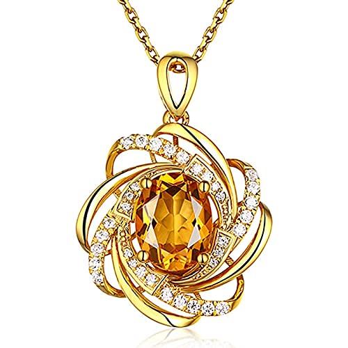 YTGLQAZ Collar Collares De Cadena para Mujer Cristal Amarillo Citrino Piedras Preciosas Diamantes Collares Pendientes para Mujer Gargantilla Cadena Bague Accesorios Regalos