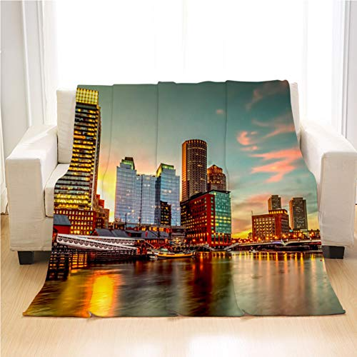 OTTOSUN Cityscape Blanket,Luxury Super Soft Throw Blanket,Fort Point Channel at Sunset,Lightweight Warm Blanket for Bed Couch Sofa Outdoor Travel,60 X 80in
