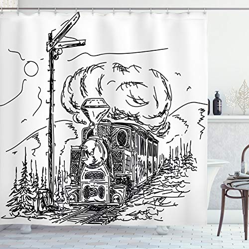 Ambesonne Steam Engine Shower Curtain, Black and White Old Train on Railroad Sketch Effect Vintage Traveling Print, Cloth Fabric Bathroom Decor Set with Hooks, 75' Long, White Black