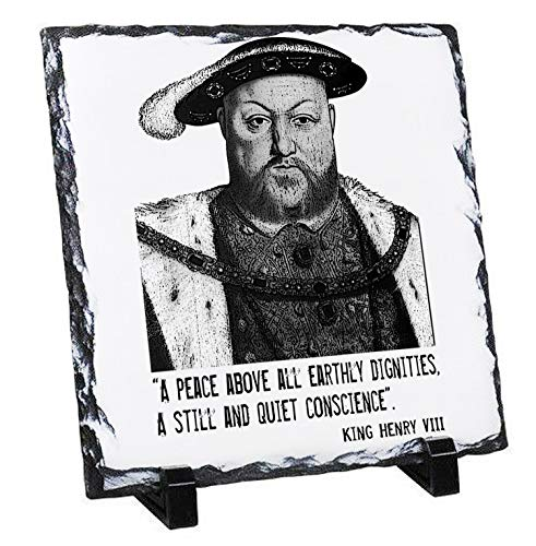 Teesquare1st Henry VIII - Rock Slate Photo, Slate Photo Gifts, Picture Plaque with Stand Desk Decor Ornament Ideas