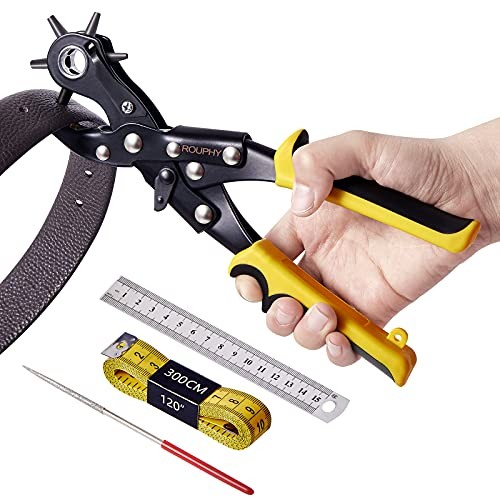 ROUPHY Hole Punch Plier Sets for Leather Belts, Dog Collars, Watch Straps, Saddles, Shoes, Fabric, Paper, Cards, Labor Saving Design, Heavy Duty Rotary Hole Maker Tools for Home DIY or Craft Projects