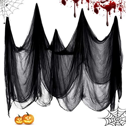Halloween Deko Gaze Stoff 2 x 5m, Grusel Deko Gruselig Schwarzes Tuch Atmosphäre Dekorationen, Horror Deko Drapieren Gaze für Tür Hallen, Duschvorhänge, Fenster - Halloween Haunted Hause Party