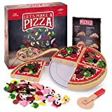 Let's Make a Pizza - Pretend Food Playset with 4 Wooden Pie Slices, 140 Felt Toppings, Wood Roller, and 3-in-1 Cardboard Box Prep Station, Oven, & Serving Table - Cute Cooking Toys for Boys & Girls