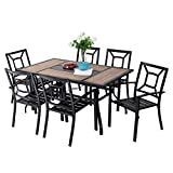 "PHI VILLA 7 Piece Outdoor Dining Table Set, 61'x37' Rectangular Dining Table with Wood Top & 1.56"" Umbrella Hole and 6 Metal Chairs for Patio, Garden"