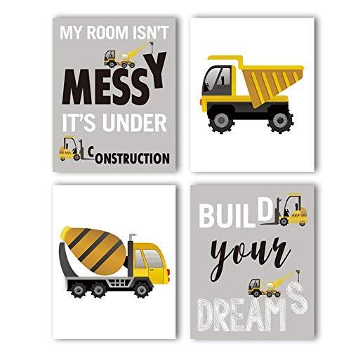 KAIRNE 4er Set Bilder Kinderzimmer Deko Junge Poster, Kinder Autos Bagger Fahrzeuge Feuerwehr, Kinderposter für Babyzimmer, Wandbilder Kinderbilder Babybilder ohne Rahmen